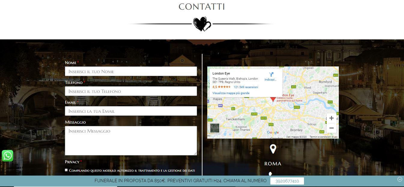 REALIZZAZIONE SITI INTERNET PER POMPE FUNEBRI ROMA