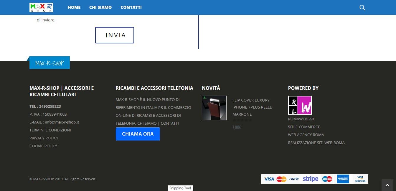 Sviluppo Sito Internet E-commerce per vendita accessori telefonia