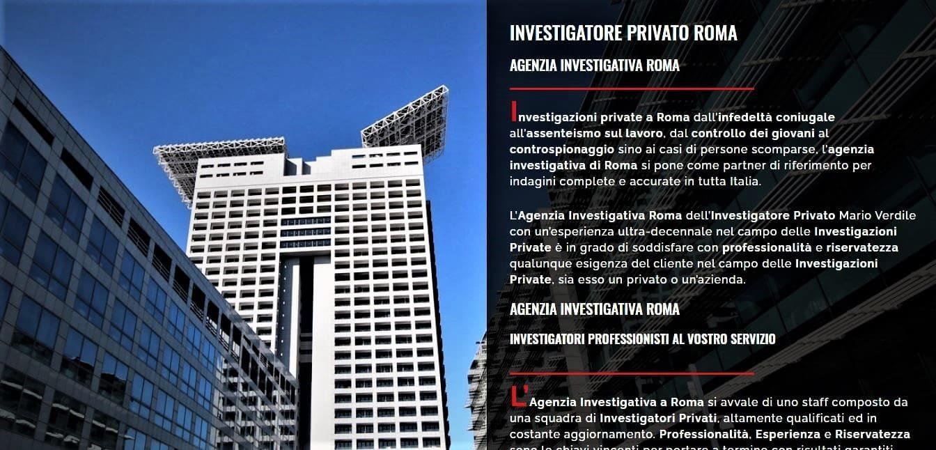 CREAZIONE SITI WEB PER AGENZIA INVESTIGATIVA ROMA